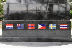 Close up of the mosaic flags on The Universal Soldier monument, a memorial to those who fought in the Korean war. New York, USA - 28 September, 2016: Close up of royalty free stock photography