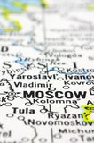 Close up of Moscow on map, Russia Royalty Free Stock Images