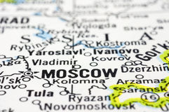 Close up of Moscow on map, Russia Stock Images