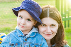 Close up of mother and boy Stock Images