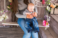 Close-up of mother and her baby boy indoors Royalty Free Stock Photos