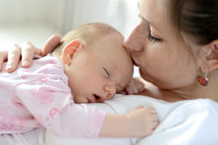 Close up of mother holding her cute baby daughter Royalty Free Stock Photos