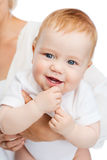 Close up of mother holding smiling baby Royalty Free Stock Photography