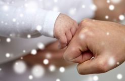 Close up of mother and newborn baby hands Royalty Free Stock Photography