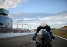 The close up of motobike driver Royalty Free Stock Images