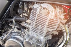 Close up motorbike engine. Selective focus Royalty Free Stock Photo