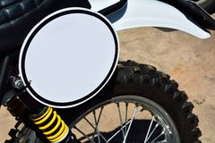 Close-up of motorbike with round white blank space Stock Photography