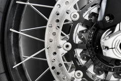 Close up Motorcycle. Break and wheel Stock Photos