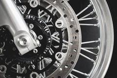 Close up Motorcycle. Break and wheel Stock Image