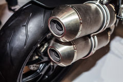 Close up of motorcycle exhaust Royalty Free Stock Photography