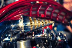 Close up of Motorcycle Exhaust pipe. Macro detail Royalty Free Stock Photo