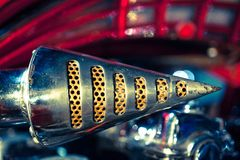 Close up of Motorcycle Exhaust pipe. Macro detail Royalty Free Stock Photography