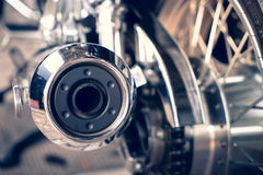 Close up Motorcycle. Exhaust and wheel Stock Image