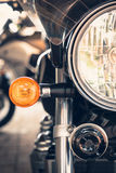 Close up Motorcycle. Headlights and horn stock image