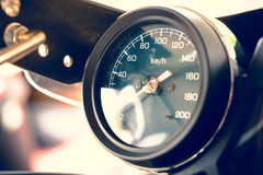 Close up Motorcycle. Mileage in retro style Royalty Free Stock Images