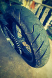 Close up of motorcycle wheel Royalty Free Stock Photos