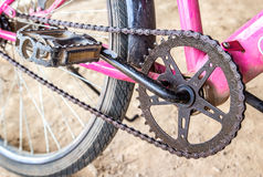 Close Up Mountain Bike Crankset With Chain Stock Photo
