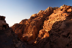 Close-up of mountain in sunset. Close-up shot of a sunset mountain in Wadi Rum, Jordan stock photography