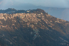 Close-up mountain villages in the morning in winter that view from The Tiger Hill in winter at Tiger Hill, Darjeeling. India.  Royalty Free Stock Images