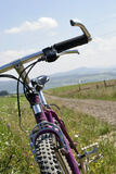 Close up of mountainbike. Close up of violet mountainbike Royalty Free Stock Photo