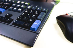 Close up mouse and keyboard Stock Photo