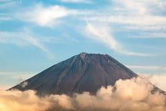 Close up of Mouth crater of Fuji san with cloud stock photos