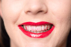 Close up mouth and teeth with lipstick Royalty Free Stock Photo