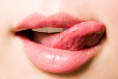 Close-up mouth and tongue Stock Images