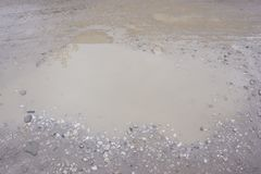 Close up of muddy puddle soil terrain water . Close up of muddy puddle soil terrain water Stock Photo