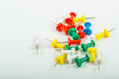 Close up muliple push pin insert Stock Image