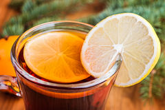 Close up of mulled wine  with  spices and orange Stock Photography