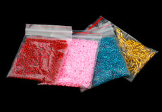 Close up multi colored beads heap Stock Photos