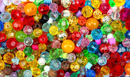 Close up multi colored beads heap Royalty Free Stock Photography