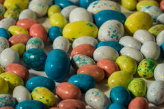 Close up of multi-colored candy Easter eggs Stock Photos