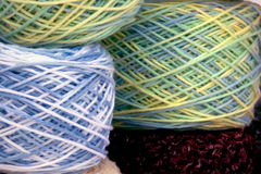Close Up of Multi-Colored Crochet Cotton Stock Images