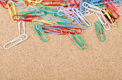 Close-up of multi-colored paper clips Royalty Free Stock Photography