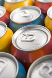 Close Up Of Multi Colored Soda Cans Stock Photography