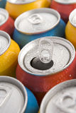 Close Up Of Multi Colored Soda Cans With One Open Royalty Free Stock Photography