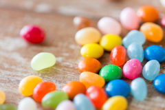 Close up of multicolored jelly beans candies Stock Photo
