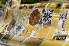 Close up of a multicolored mosaic in Park Guel,Barcelona,Spain Royalty Free Stock Images