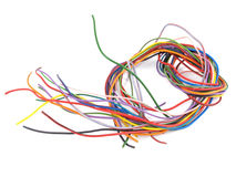 Close up of multicoloured electrical wire. Close up of multicoloured six amp electrical wire Royalty Free Stock Photo