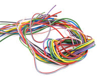 Close up of multicoloured electrical wire Stock Photo