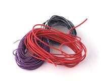 Close up of multicoloured wire. On a white background Stock Photography