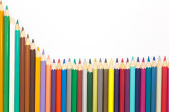 Close up multiple colour wooden pencil on white Royalty Free Stock Photos