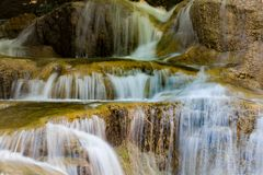 Close up multiple layer stream waterfall. Natural landscape background Stock Photo