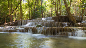 Close up, Multiple layer waterfall in tropical rain forest national park Stock Photo