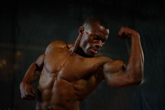 Close-up muscles of african american handsome body builder posing with naked torso on the black studio background.  Royalty Free Stock Photography