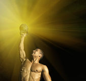 Close up of muscular bodybuilder guy doing exercises with weights over black background. Royalty Free Stock Photography