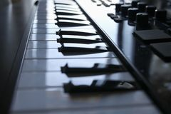 Close-up music electronic keyboard. Close-up of an music electronic keyboard stock images