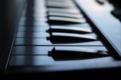 Close-up music electronic keyboard. Close-up of an music electronic keyboard royalty free stock photography
